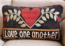 Love One Another applique pillow pattern by Norma Whaley