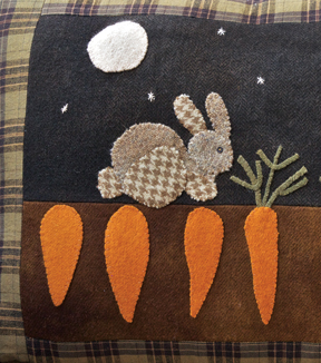 Mr. McGreggors Garden applique pillow pattern by Norma Whaley
