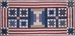 Stars and Stripes Forever patchwork quilt table runner pattern by Norma Whaley